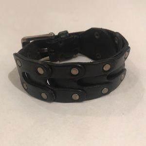 John Varvatos Black Leather Bracelet